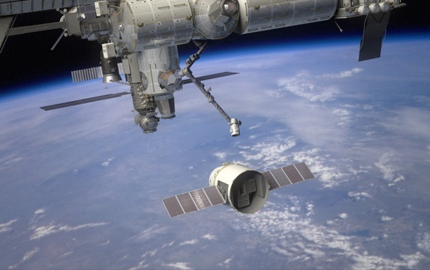 Фото обои Земля, Dragon, МКС, SpaceX
