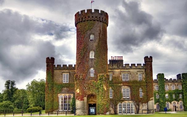 Фото обои замок, Англия, башня, каменный, England, плющ, Замок Суинтон