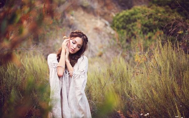 Фото обои задумчивость, природа, портрет, боке, Jessica
