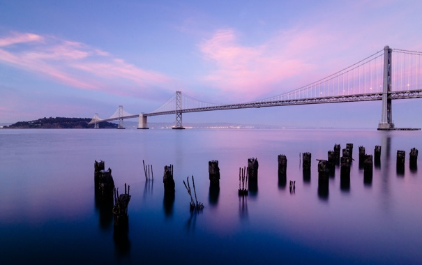 Фото обои небо, облака, пейзаж, мост, city, город, пролив