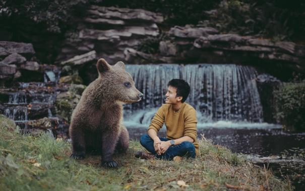 Фото обои ситуация, медведь, парень