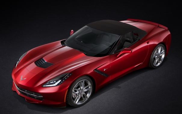 Фото обои красный, Corvette, Chevrolet, корвет, Convertible, Stingray