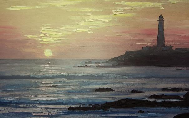 Фото обои море, пляж, маяк, масло, Картина, искусство, краски.
