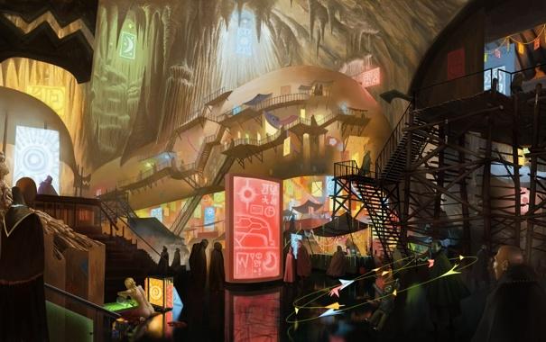 Фото обои город, люди, фантастика, арт, лестницы, пещера, рынок