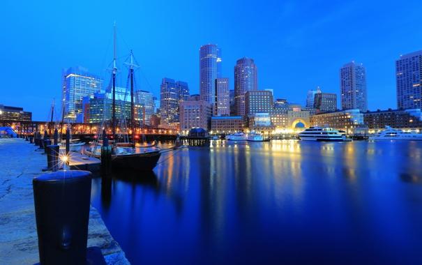 Фото обои здания, яхты, причал, ночной город, набережная, Бостон, Boston