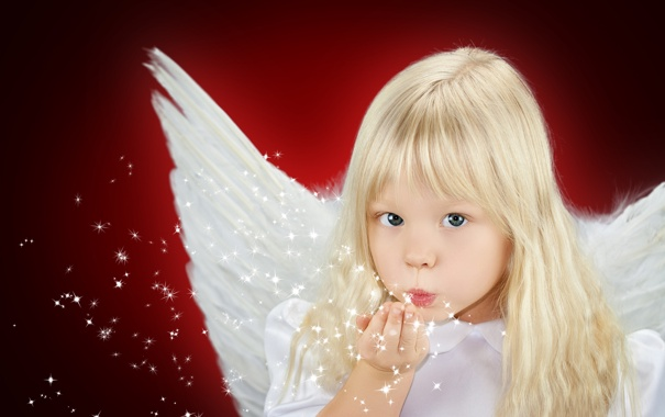 Фото обои детство, ребенок, крылья, ангел, блондинка, девочка, красивая