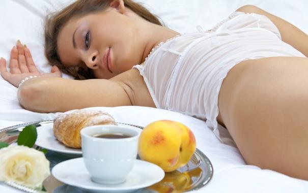 Фото обои девушка, сон, завтрак, утро