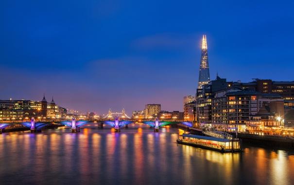 Фото обои ночь, река, Англия, Лондон, здания, небоскребы, вечер