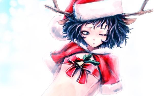 Фото обои девушка, праздник, шапка, новый год, рождество, аниме, арт