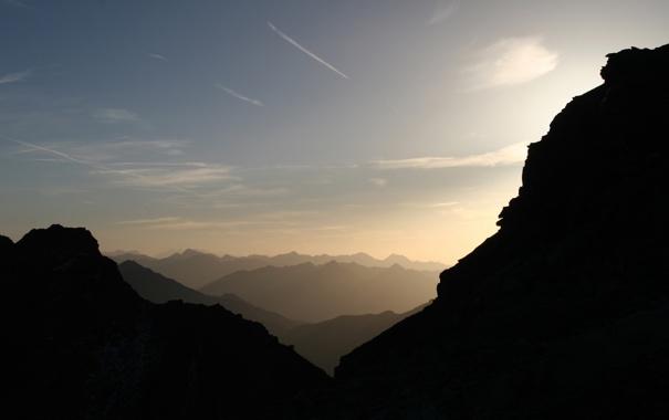 Фото обои небо, облака, свет, горы, камни, фото, скалы