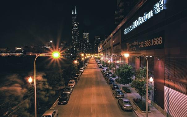 Фото обои дорога, ночь, огни, небоскребы, фонари, USA, чикаго