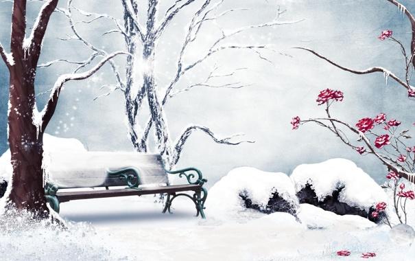 Фото обои зима, снег, цветы, рисунок, розы, скамья