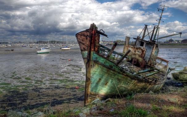 Фото обои пейзаж, корабль, France, Brittany, Larmor