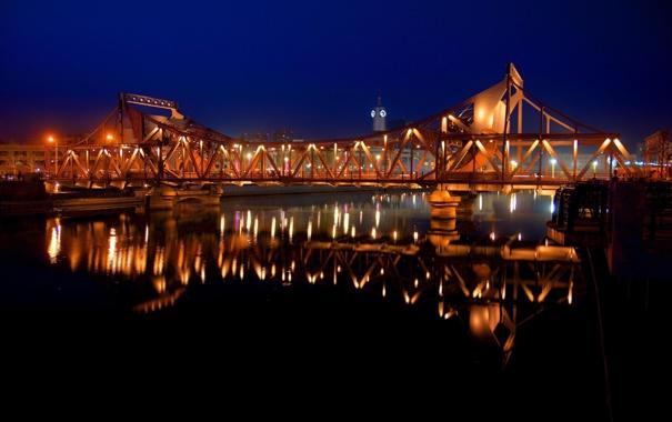 Фото обои ночь, мост, огни, отражение, Город