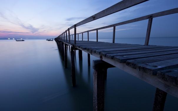 Фото обои пейзаж, река, ночь, мост
