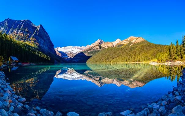 Фото обои небо, деревья, закат, горы, озеро, Канада, Альберта