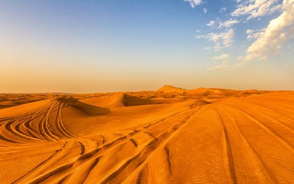 Фото обои песок, облака, следы, пустыня, Дубаи, Dubai, desert