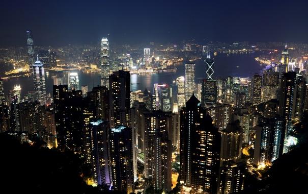 Фото обои ночь, огни, Гонконг, небоскребы, панорама, Китай, мегаполис