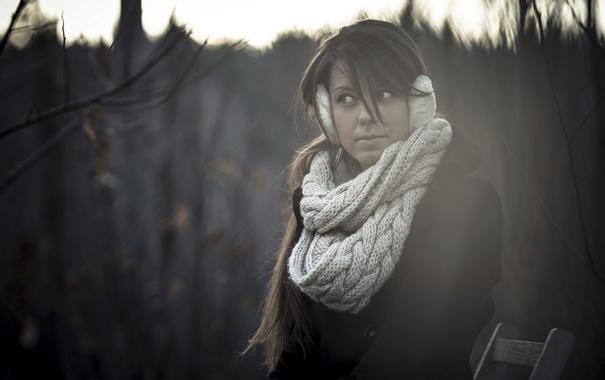 Фото обои наушники, шарф, холодно