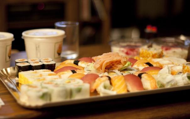 Фото обои рис, Еда, суши, васаби, ролы, суши-бар