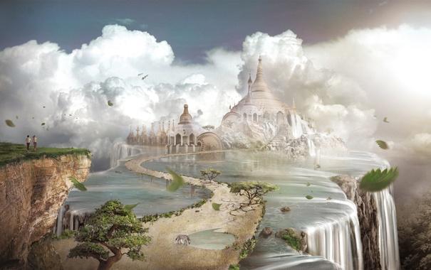 Фото обои зебра, храм, двое