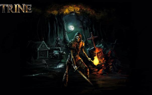 Фото обои light, moon, sword, undead, trees, night, fear