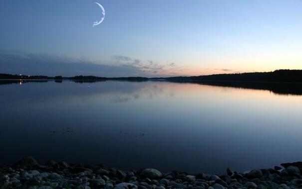Фото обои река, камни, месяц, сумерки, dreamworks
