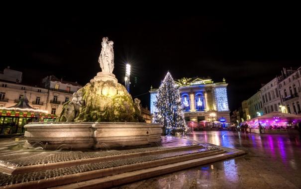 Фото обои ночь, огни, праздник, Франция, елка, Рождество, фонтан