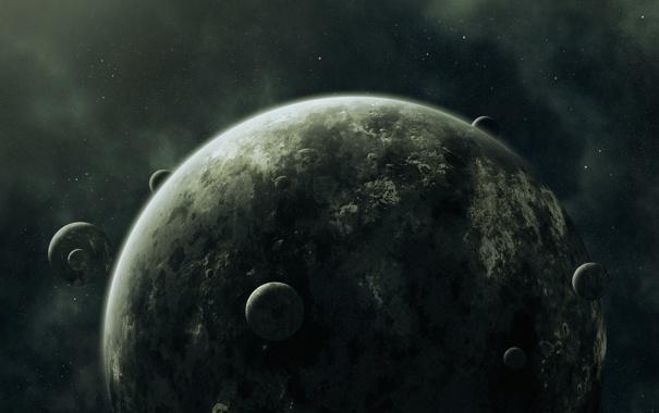Фото обои Планета, Спутники, Seven Moons, Семь Лун