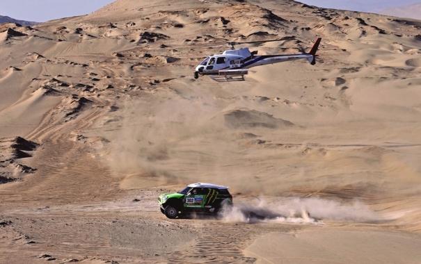 Фото обои гонка, Песок, Авто, Спорт, Зеленый, Машина, Вертолет