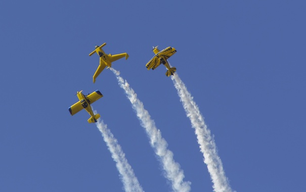 Фото обои небо, синий, дым, самолеты, Textor Show Squadron