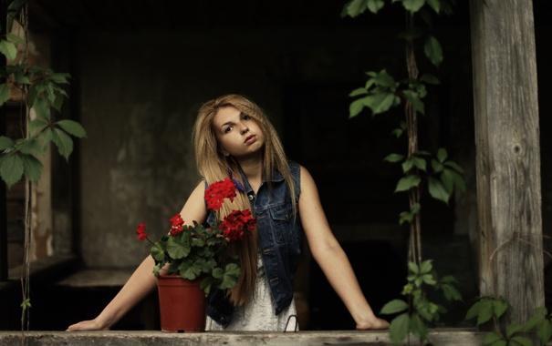 Фото обои взгляд, девушка, цветы