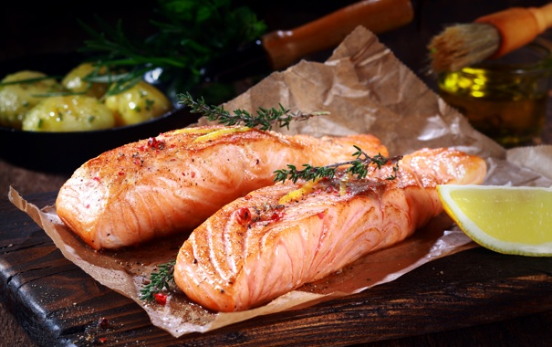 Фото обои лимон, рыба, морепродукты, специи