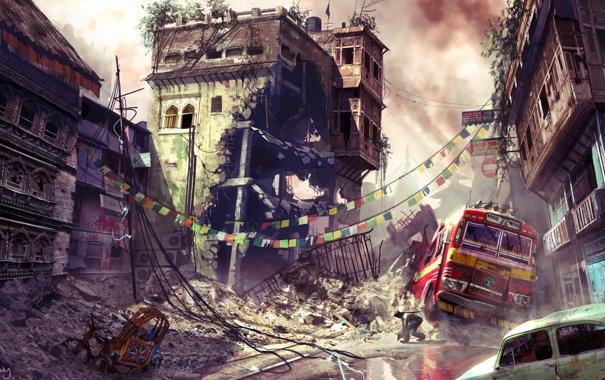 Фото обои город, война, арт, разруха, автобус, квартал, uncharted 2