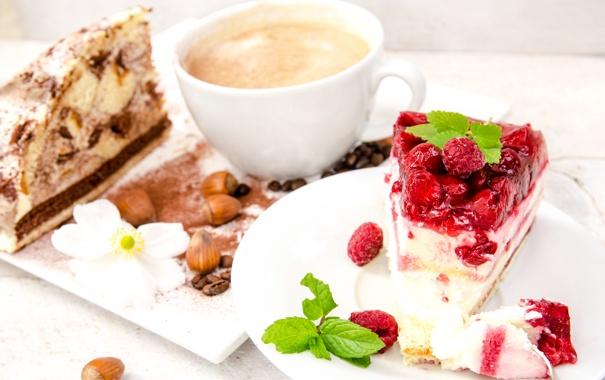 Фото обои ягоды, малина, кофе, пирожное, орехи, десерт, dessert