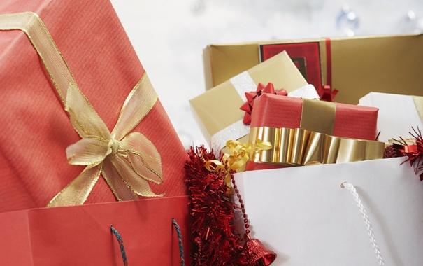 Фото обои праздник, подарок, новый год, лента, подарки, new year, мишура