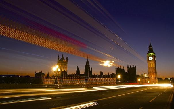 Фото обои дорога, свет, ночь, город, огни, Англия, Лондон