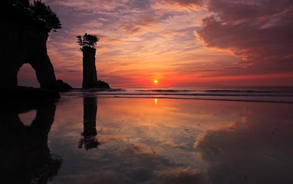 Обои картинки фото утро море скалы