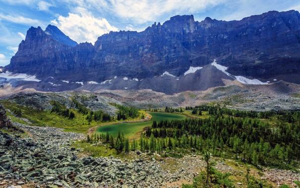 Фото обои Yoho National Park, камни, Канада, скалы, деревья, горы, озеро