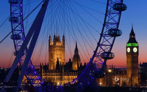 Фото обои Palace of Westminster, Big Ben, башня, вечер, Лондон, колесо, London