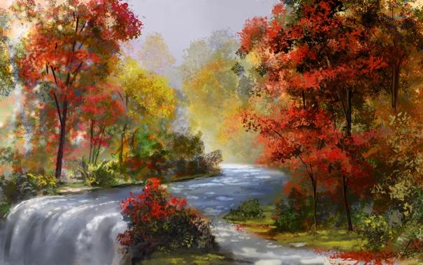 Фото обои осень, вода, деревья, река, поток, art