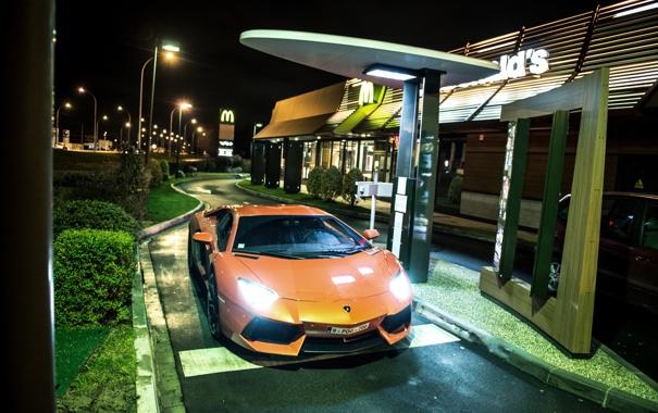 Фото обои оранжевый, вид спереди, Макдональдс, McDonalds, orange, свет фар, aventador