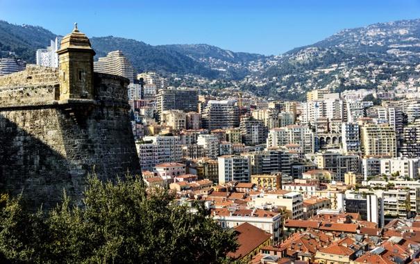 Фото обои пейзаж, горы, дома, Монако, Moneghetti