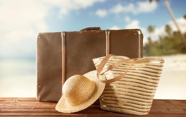 Фото обои шляпа, чемодан, summer, beach, vacation, travel
