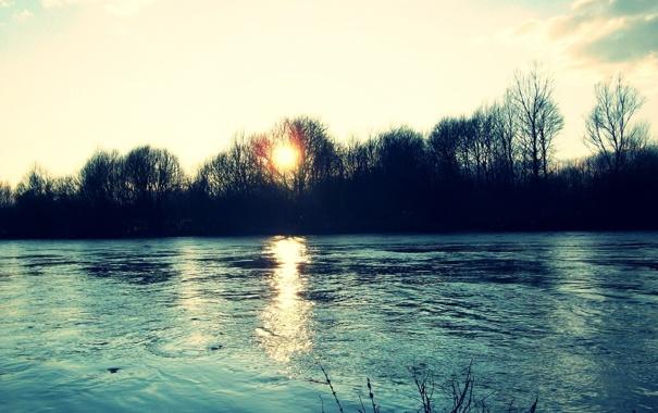 Фото обои осень, деревья, пейзаж, закат, природа, река
