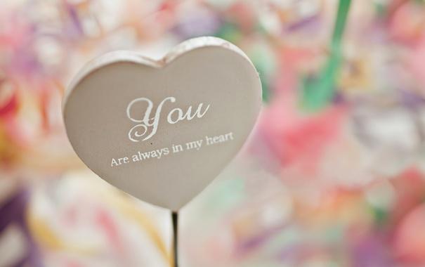 Фото обои любовь, надпись, сердце, сердечко, you are always in my heart