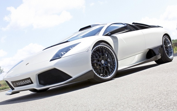 Фото обои авто, белый, Lamborghini, суперкар, Hamann, ракурс, Murcielago
