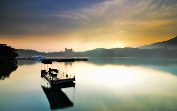 Фото обои небо, природа, озеро, корабль