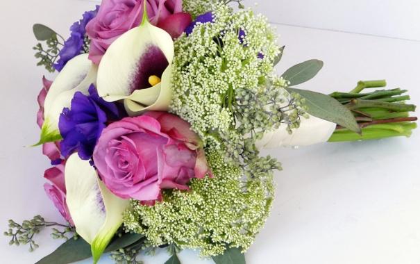 Фото обои цветы, фото, розы, букет, эустома, каллы