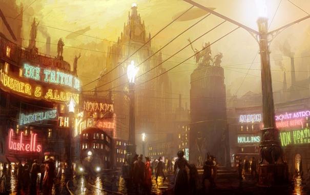 Фото обои машины, город, огни, люди, здания, вечер, арт